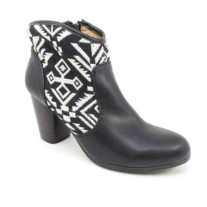 Qupid Vegan Leather Aztec Western Ankle Boots